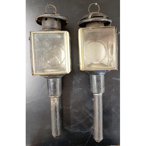 16 - Pair of Victorian Pagoda Top Carriage Lamps...
