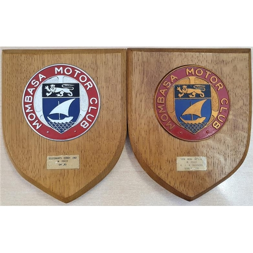 18 - Two Mombasa Motor Club Plaques (Colonial Kenya 1960's), each c.5 x 6in...