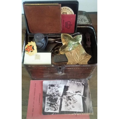 21 - Old Tin Box & Contents - Brassware, Badges, Weights...