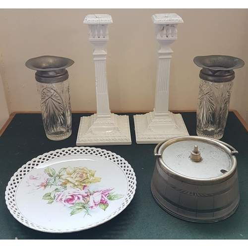 22 - Two Candlesticks, Two Vases, Pewter/Glass Dish with Lid and Trellis Edged Plate...