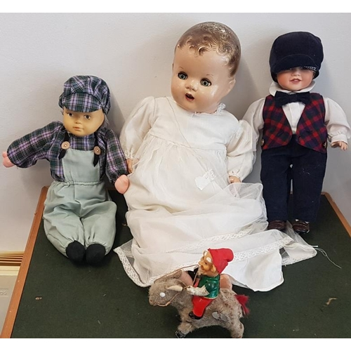 27 - Antique Doll, 2 Collector's Dolls and Old Clockwork Toy...