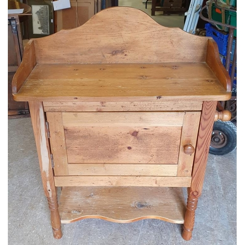 45 - Victorian Pine Washstand with shaped three quarter gallery over a single cupboard and lower shelf, c...