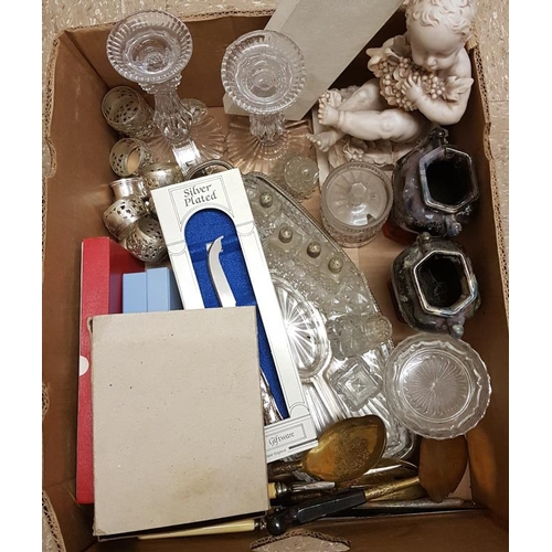 50 - Box and Contents to include Vases, Waterford Crystal Candlesticks (2), Marble Statue, etc....