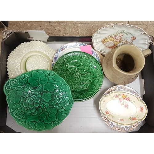 52 - Two Boxes of Various Colourful Delph, including Hat Posy Goblet, Plates, etc....