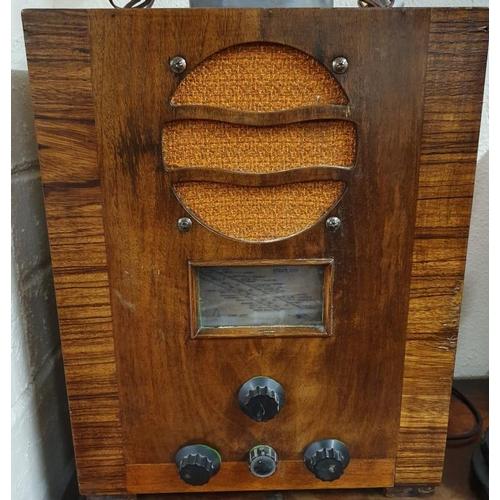 57 - Art Deco Bush Walnut Case Radio, c.15.5 x 19.5in...