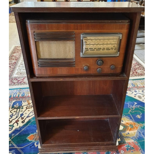 60 - Pilot H555 Wooden Cast Valve Radio with original mahogany shelves on a revolving base, overall c.24....