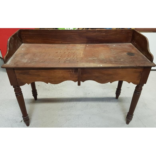 91 - Victorian Mahogany Side Table with three quarter gallery, a pair of shaped frieze drawers and all ra...