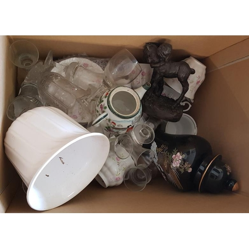 100 - Box and Contents to include mixed drinking Glasses, Teapot, etc....