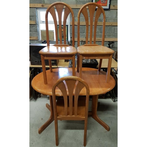 111 - Pine Table and Three Chairs - c. 47 x 35 x 29.5ins...