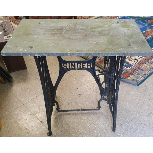 116 - Cast Iron Singer Sewing Machine Base with Marble Top...