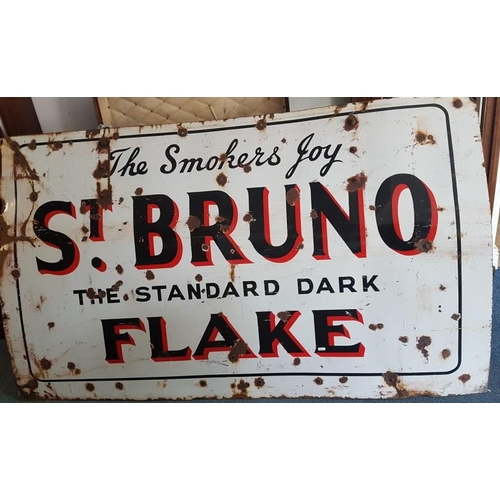 165 - <em>'Smoker's Joy, St. Bruno Standard Dark Flake'</em> Enamel Advertising Sign - c. 71 x 42ins...