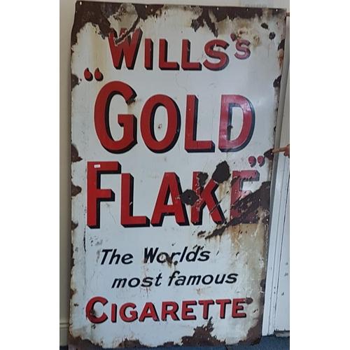 166 - <em>'Wills's Gold Flake Cigarettes'</em> Enamel Advertising Sign - c. 36 x 60ins...