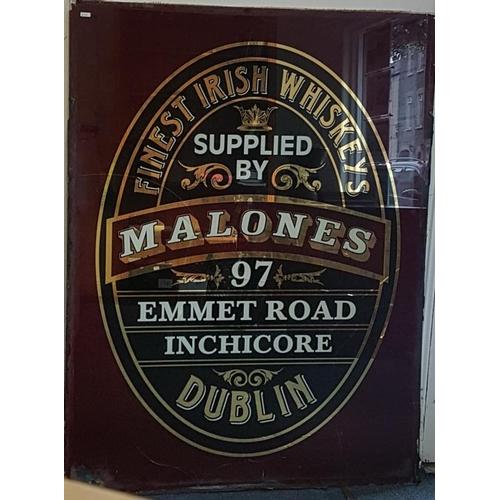 168 - <em>'Malones, Dublin, Finest Irish Whiskeys'</em> Advertising Mirror (A/F)- c. 40 x 53ins...