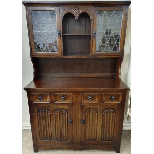 40 - Oak Dresser with Glazed, Leaded Doors to Display Shelves, c.48in wide, 69in tall...