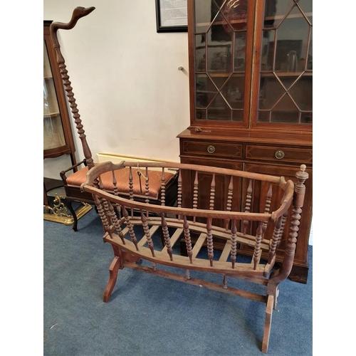 62 - 19th Century Bobbin Turn Cradle with swan neck detail, c.53 x 68in...