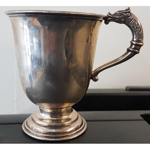 223 - Irish Silver Christening Cup with Celtic serpent handle, by Alwright & Marshall, c.1955, c.105gr...