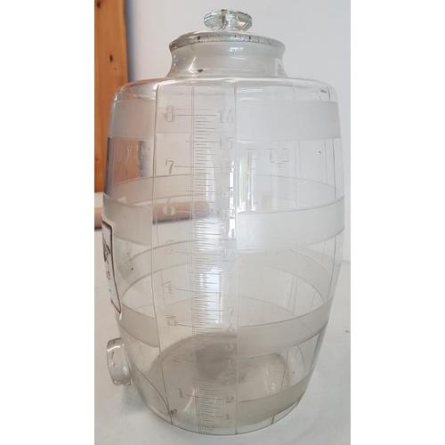 270 - Glass Whiskey Barrel - c. 14ins tall...