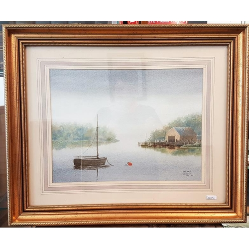 339 - Signed Watercolour - 'Boathouse, Banagher' by Quinn Magee - Overall c. 23.5 x 19.5ins...