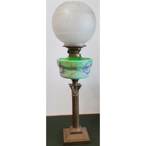 340 - Victorian Green Milk Glass Oil Lamp with Shade...