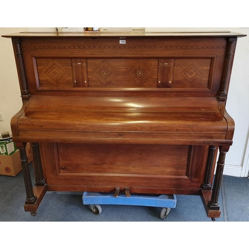 372 - Walnut Case Metal Frame Upright Piano, inlaid with Brass and Mother of Pearl, by R. Gors & Kallm...