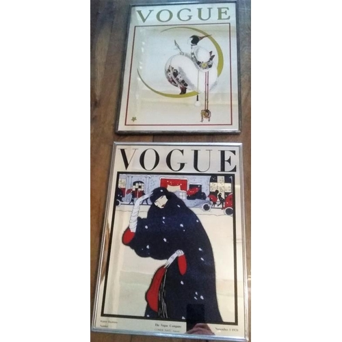 473 - Two Vogue 1920's Metal Framed Fashion Advertising Mirrors...
