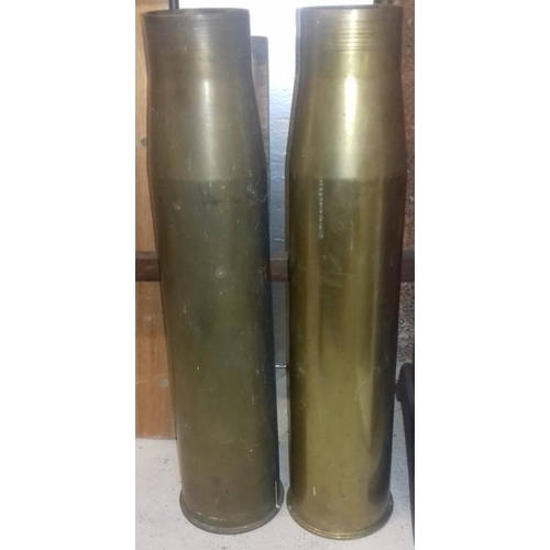 5 - Two Brass British Naval Shells 1950's - 70cm tall...