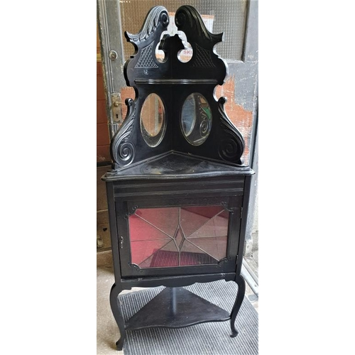 9 - Edwardian Ebonised Corner Display Cabinet with bevelled mirror panels, c.25 x 62in...