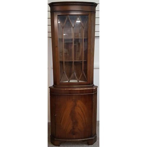 10 - Corner Cabinet with Astragal Glazed Door to Top - c. 25.5 x 70.5ins...