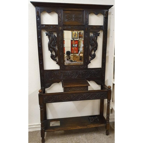 15 - Impressive and Large Carved Oak Hallstand in the Gothic style - 41 x 77ins...