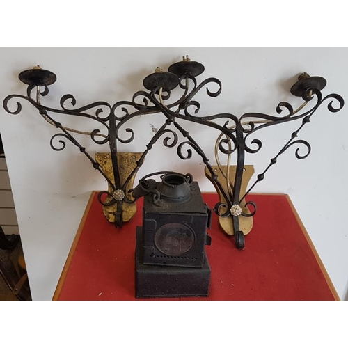 27 - Carriage Lamp and Two Wall Sconces...
