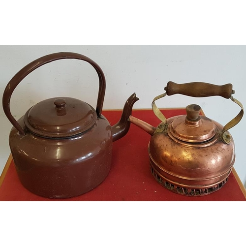 28 - Copper Kettle and Enamel Kettle...