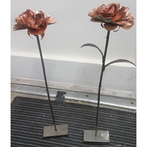 31 - Three Red Oak Tealight Holders and Two Copper Rose Sculptures...