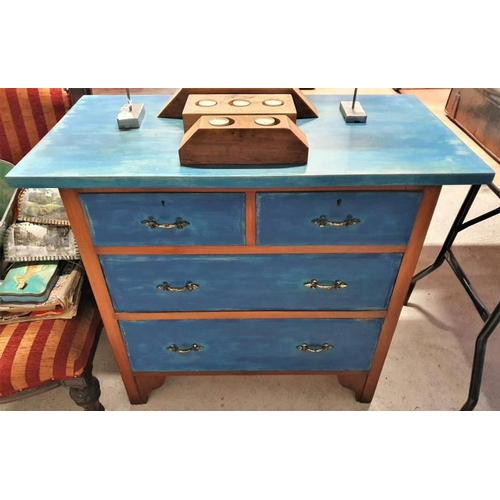 32 - Painted Mahogany Chest of Two over Two Drawers with an over-sailing top, c.36wide x 32tall...