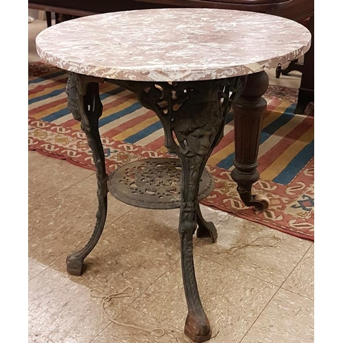 41 - Iron Pub Table with Circular Marble Top - Diameter 23.5 x 27.5ins tall...