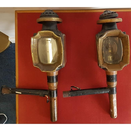 53 - Pair of Brass Mounted Carriage Lamps with Pagoda Tops...