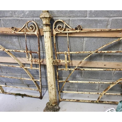 62 - Forge Made Gate Set comprising a Single Gate c.9ft and a Matching Smaller Gate c.4ft with three matc...