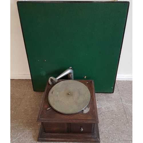 65 - Table Top Gramophone and a folding card table...