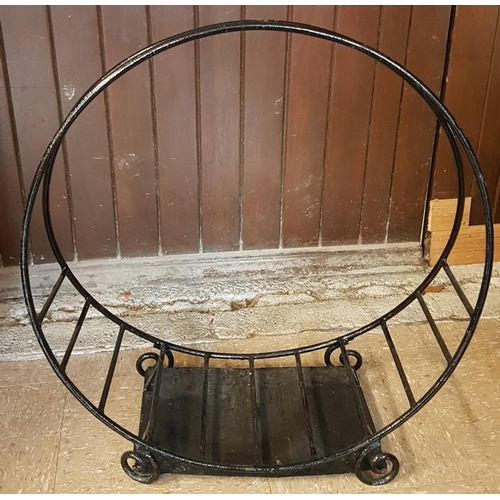 68 - Cast Metal Log Holder - c. 24 x 28.5ins high...