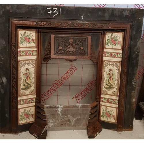 16 - Tiled and Cast Iron Fireplace Insert - 42 x 39ins...