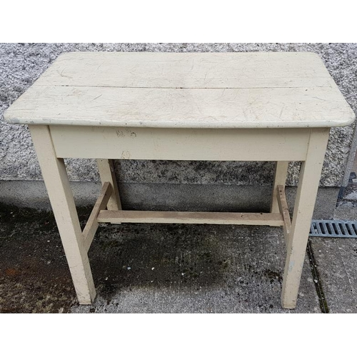 26 - Traditional Irish Pine Dairy Table with single stretcher - c. 35 x 21 x 29ins tall...