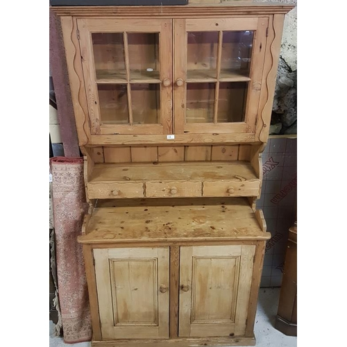 11 - 20th Century Pine Kitchen Dresser, the glazed top over a base with two cupboard doors, c. 41.5 x 78i...