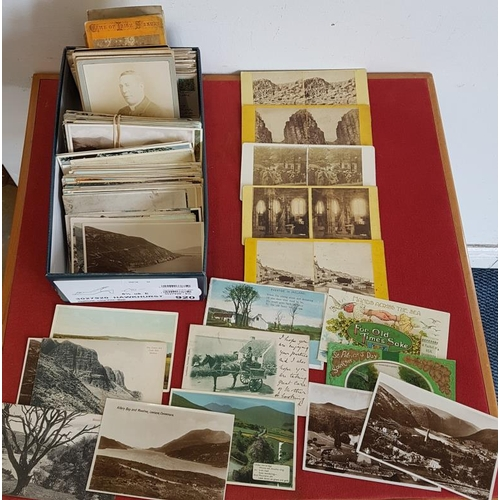 13 - Box of 300 Old Irish Postcards and a Collection of Irish Stereoscopic Cards...