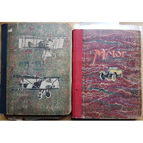 31 - Two scrapbooks: <em>Aeroplanes</em> 1919 to the 1920s and one of early<em> Motor Cards</em> with som...