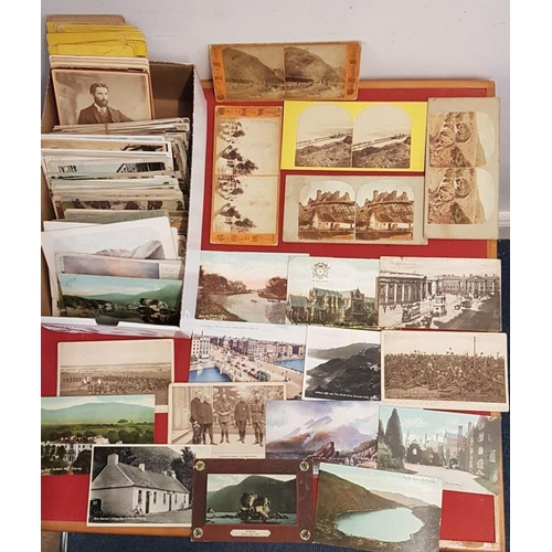 12 - Box of 300 Old Irish Postcards and a Scarce Collection of Irish Stereoscopic Cards...