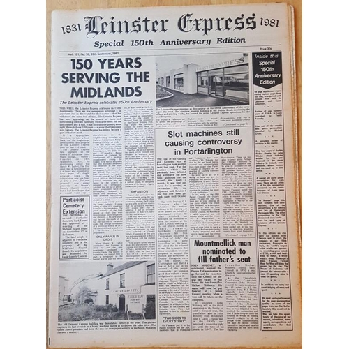 10 - <em>150th Anniversary Special The Leinster Express</em> …facsimile copies of 1831 and 1892 wi...