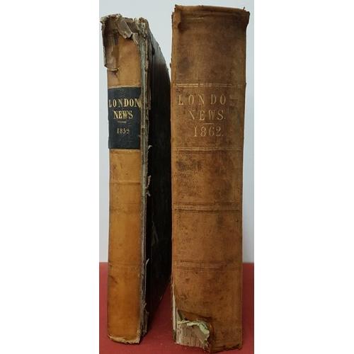 12 - Two vols of Illustrated <em>London News</em> 1859 Jan-June and 1862 Jan-December...
