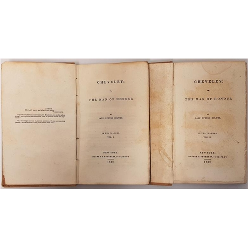 21 - <em>Cheveley; or The Man of Honour</em>. Lady Lytton Butler. Harper & Brothers. 1839. 2 volume. ...