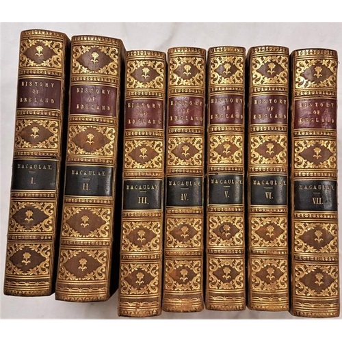 34 - Macaulay, Lord <em>The History of England</em>. Trinity College Prize. Seven volumes, 1858, attracti...