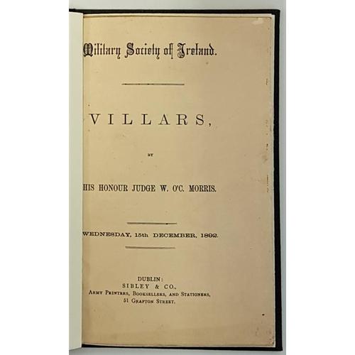 39 - Military Society of Ireland.<em> Villars</em> by His Honour Judge W. O'C Morris. Wednesday, 15th Dec...