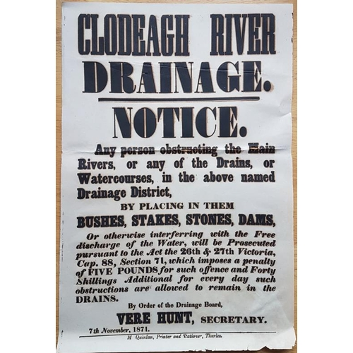 626 - Poster Notice <em>Clodeagh River Drainage Notice,</em> near Thurles, (a tributary of the Suir), Drai...
